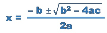 x equals minus b plus or minus the square root of b squared minus 4 a c all divided by 2 a
