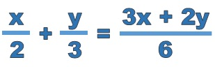 x over 2 plus y over 3 equals 3 x plus 2 y over 6