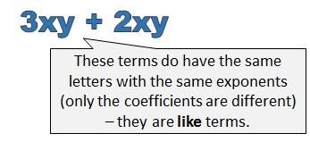3 x y and 2 x y are like terms