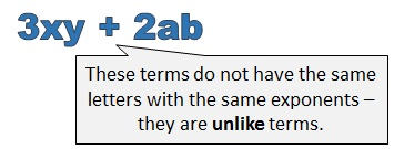 3 x y and 2 a b are unlike terms