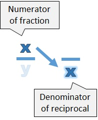 The numerator of the fraction (x) becomes the denominator of the reciprocal