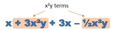 x squared y terms highlighted