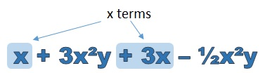 x terms highlighted