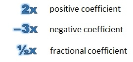 a positive coefficient, a negative coefficient and a fractional coefficient