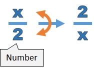 The reciprocal of x over 2 is 2 over x