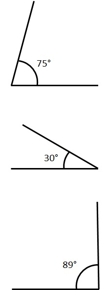 examples of acute angles. 75 degrees, 30 degrees and 89 degrees