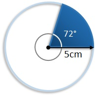 area of sector with angle of 72 degrees and a radius of 5 cm