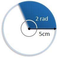 sector with angle of 2 radians and a radius of 5 cm