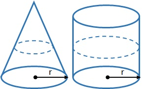 radius in a cone and cylinder