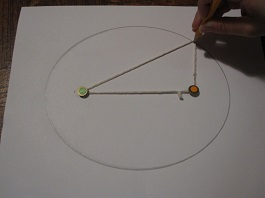 draw an ellipse with string around two pins