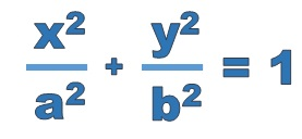 equation of an ellipse. x squared over a squared plus y squared over b squared equals 1