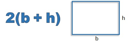 perimeter of a rectangle equals 2 (b plus h)