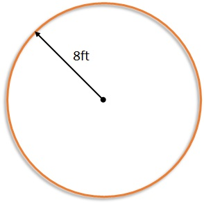 circle with a radius of 8 feet
